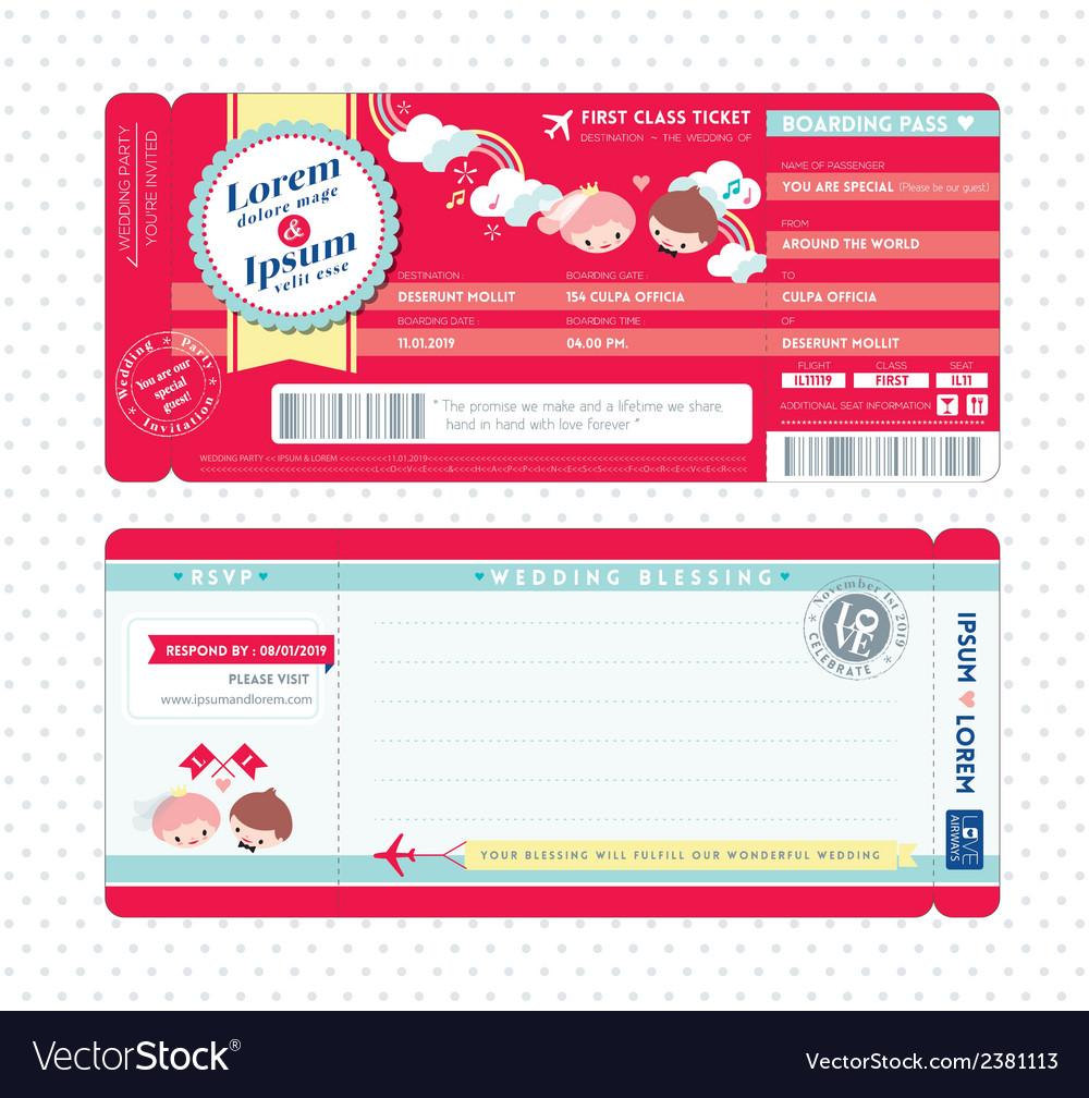 Cute Boarding Pass Ticket Wedding Invitation Card Vector Image
