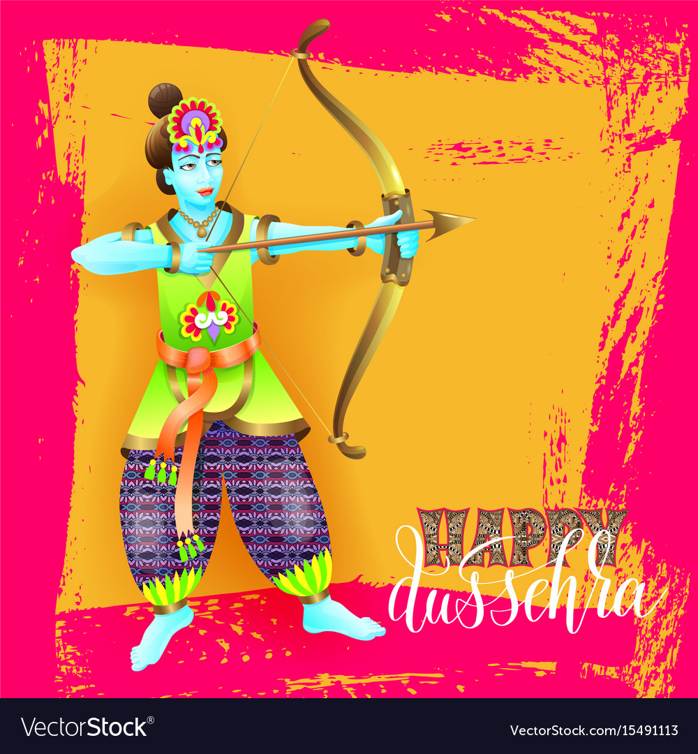 Happy dussehra greeting card design with the god vector image m4hsunfo