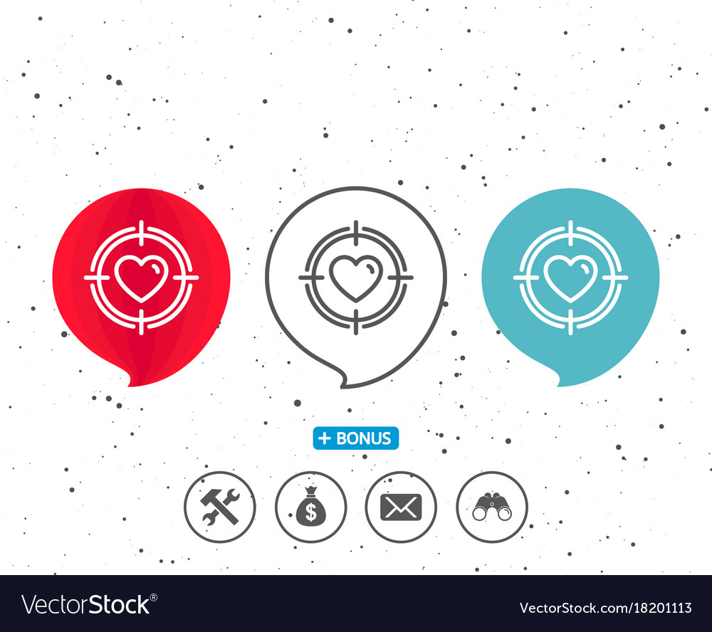 Heart in target aim icon love symbol vector image
