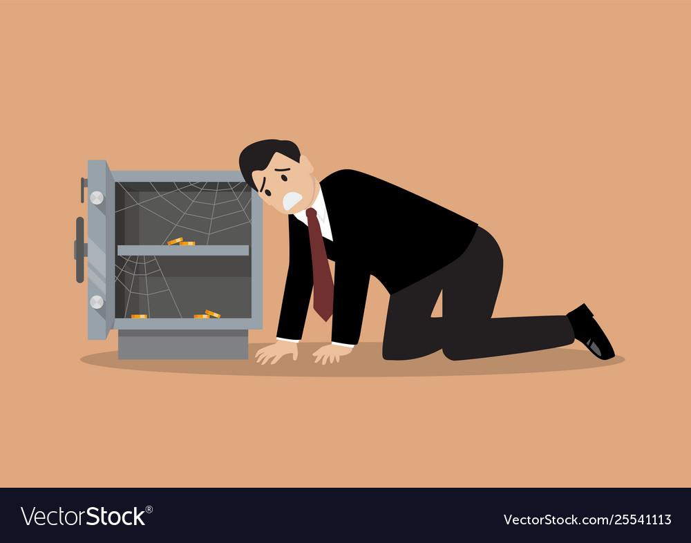 Sad businessman character near open door safe