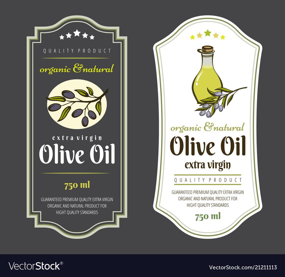Set labels for olive oils elegant design