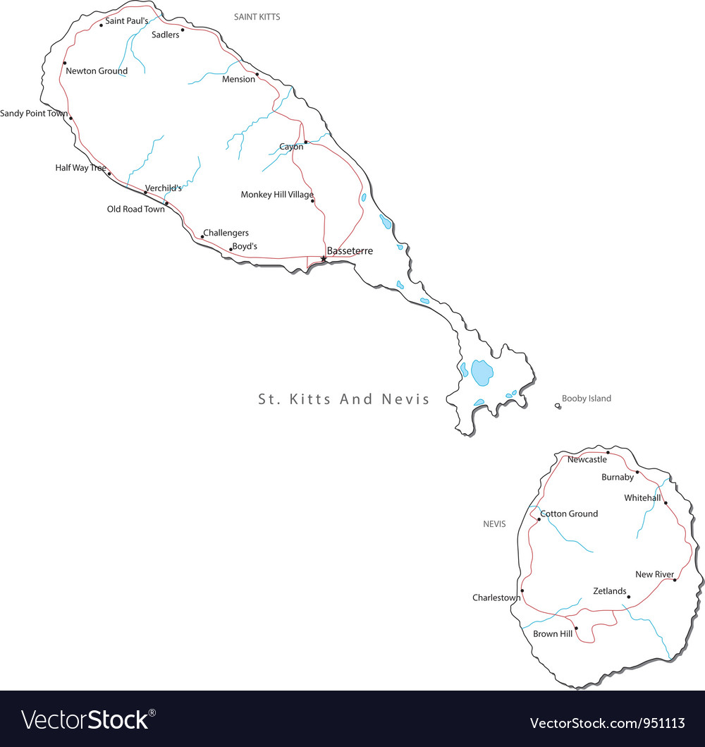 St Kitts and Nevis Black White Map Royalty Free Vector Image