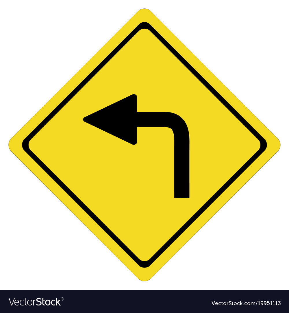Turn left on white background turn left symbol