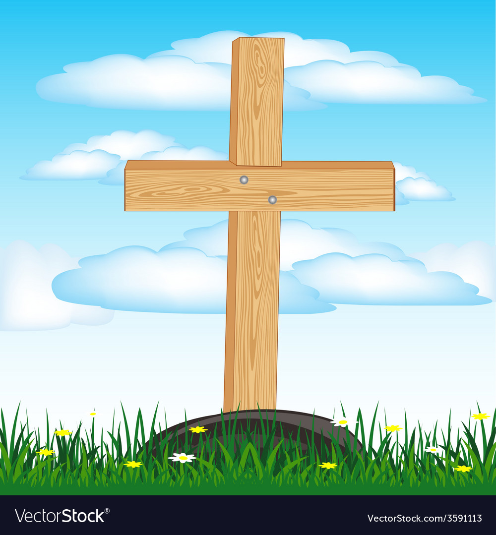 Wooden Cross On Grave