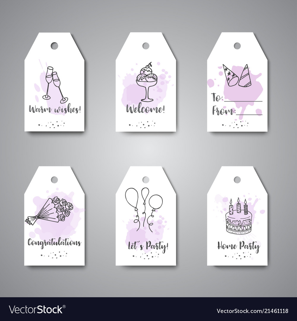birthday party doodle gift tags template vector image