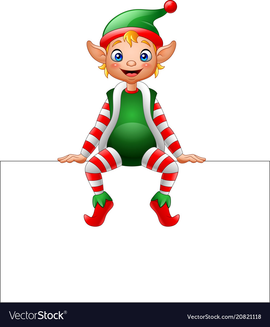 Cartoon christmas elf sitting on blank sign Vector Image
