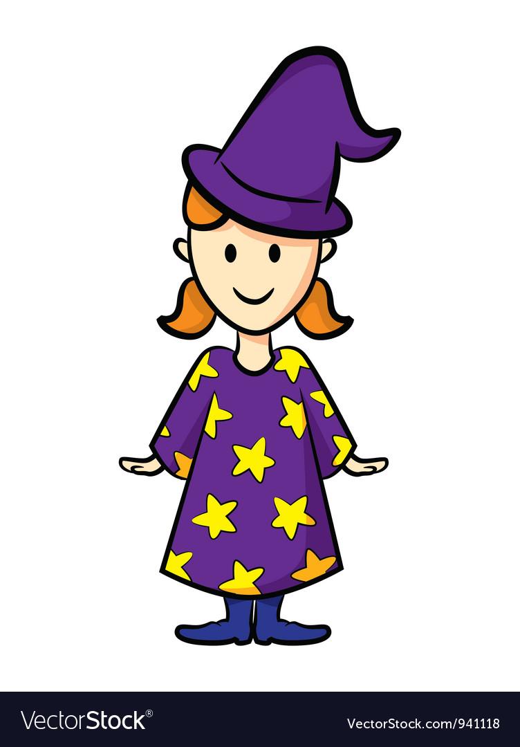 Cute girl wearing witch uniform