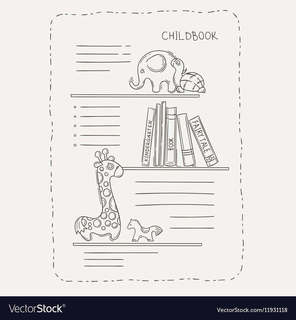 Doodle page for kids and children Bookshelf and