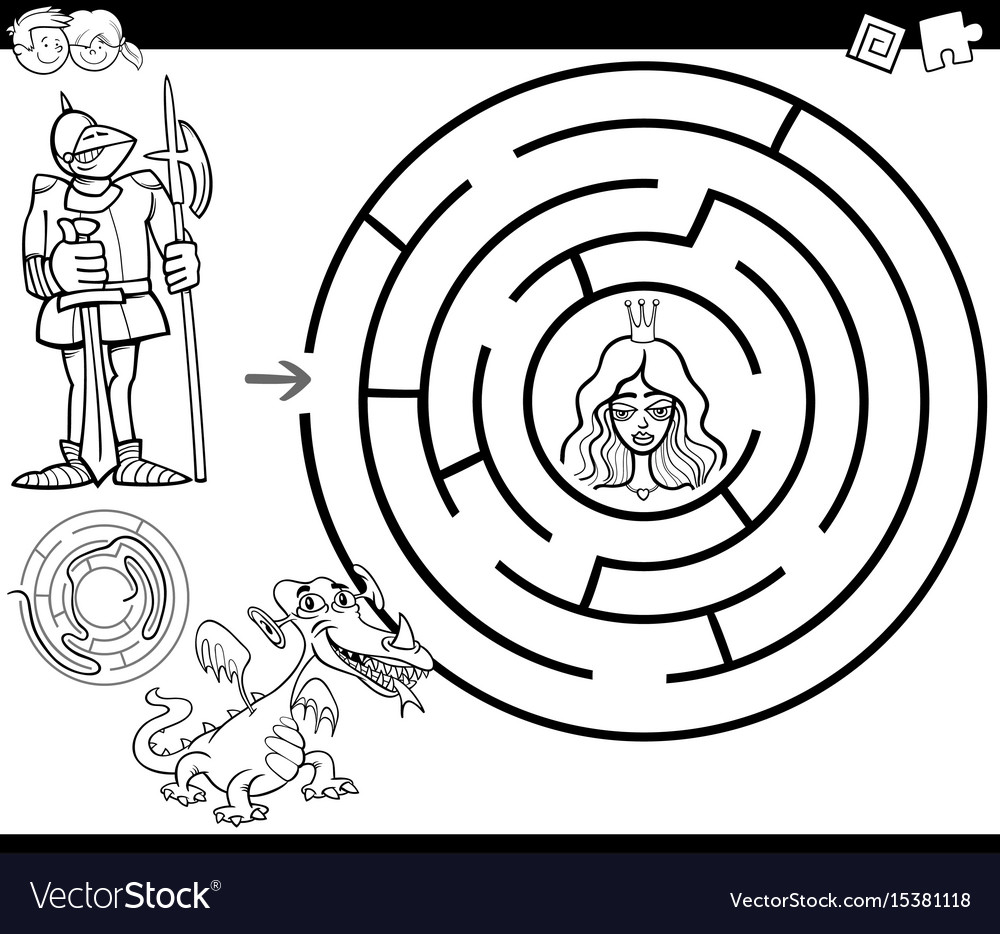 Fairy tale maze coloring page Royalty Free Vector Image