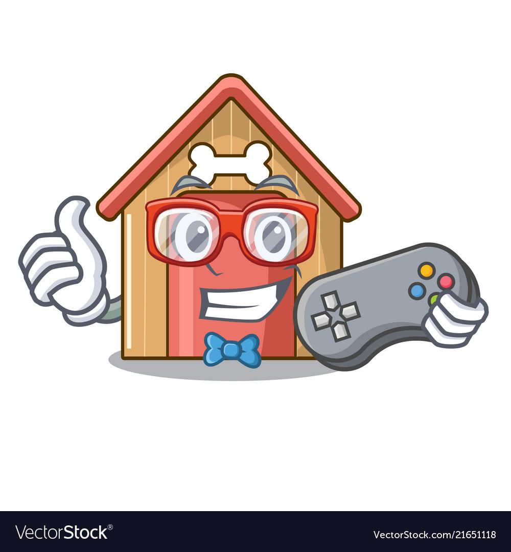 gamer dog house isolated on mascot cartoon vector image