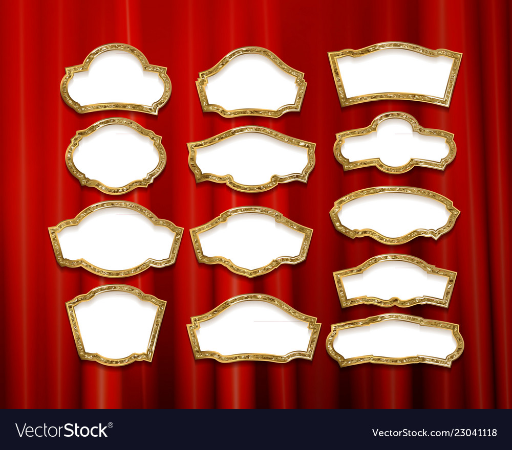 Gold Frames With Red Drapes Royalty Free Vector Image