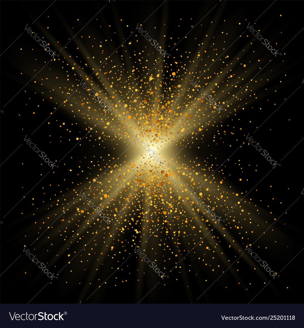 Gold sparkle on black background golden light
