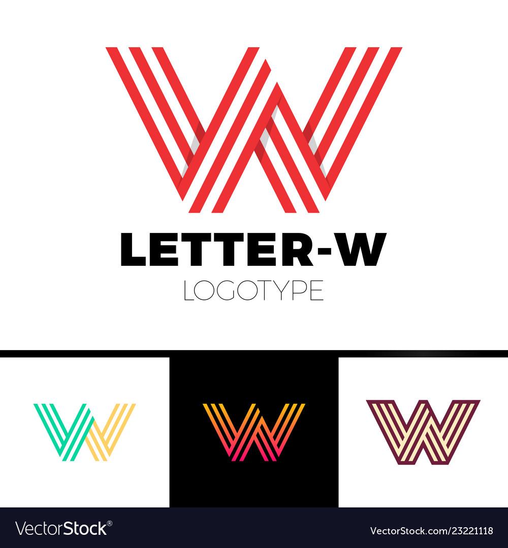 Impossible shape letter w logo design template