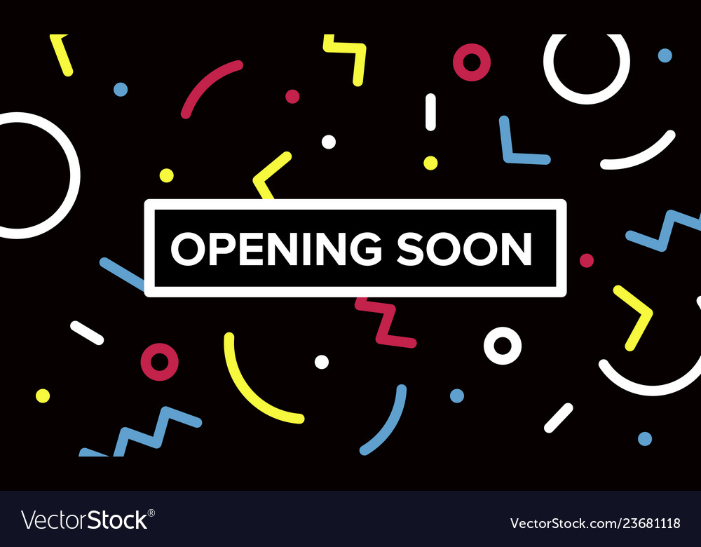 Opening soon banner graphic design with geometric