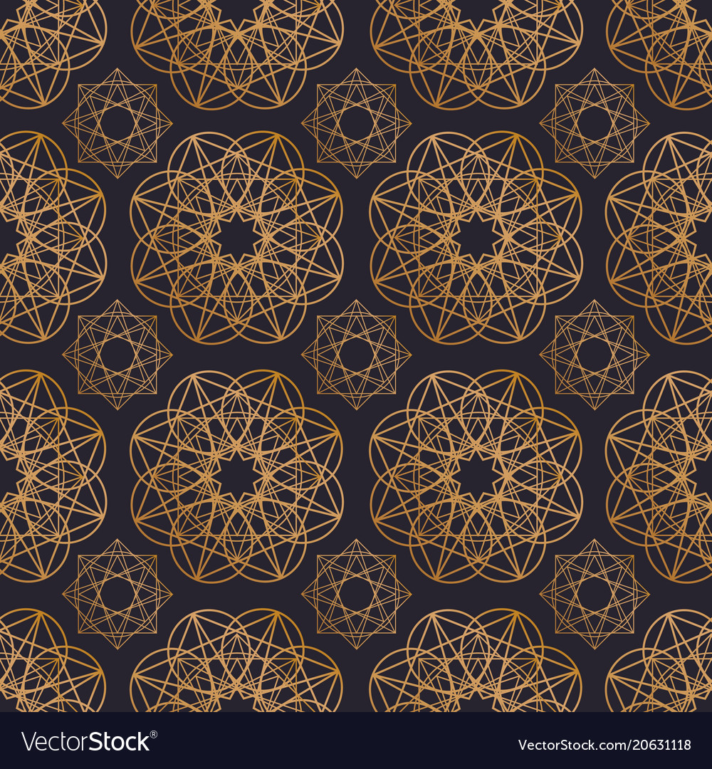 Oriental seamless pattern with round geometric