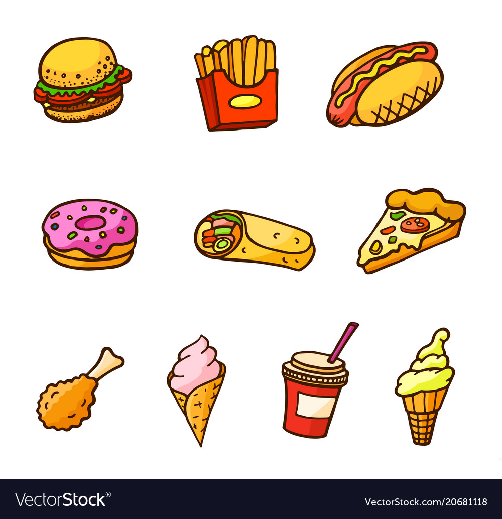 Pop art style set of fast food stickers vector image