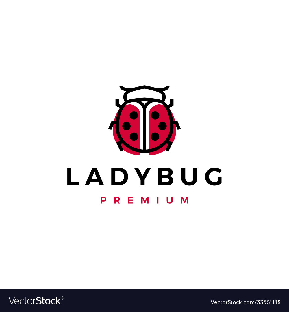 Red lady bug beetle black dots logo icon