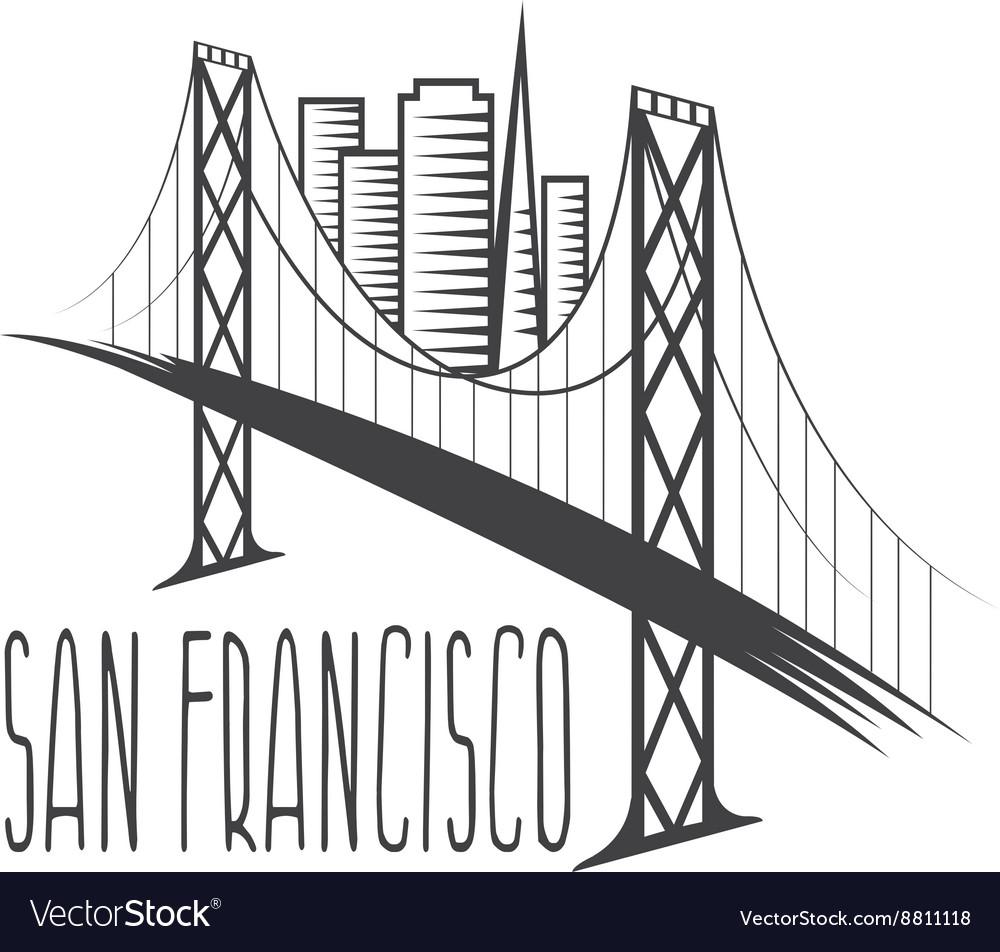 San Francisco-Oakland Bay Bridge and buildings vector image
