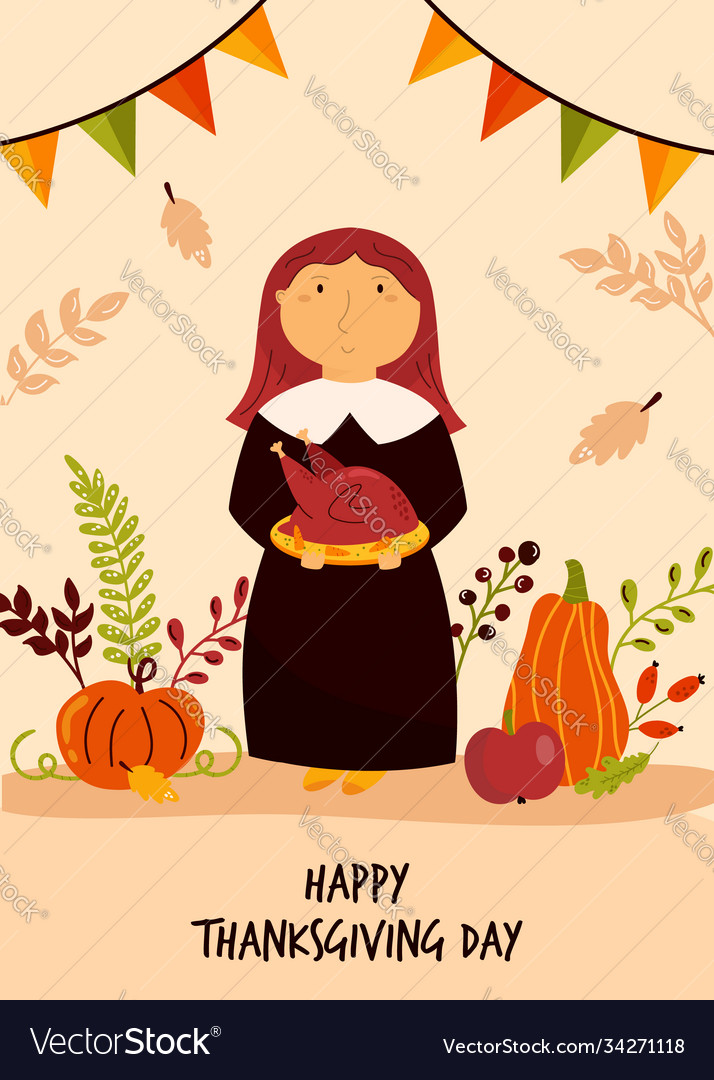 Thanksgiving day greeting card with cute pilgrim