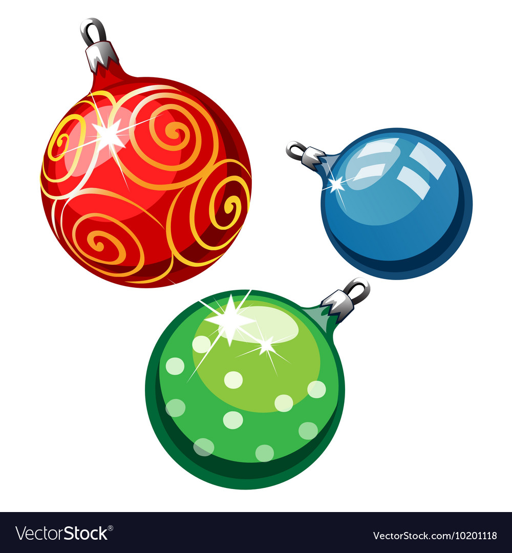 Three balls on Christmas tree red blue and green