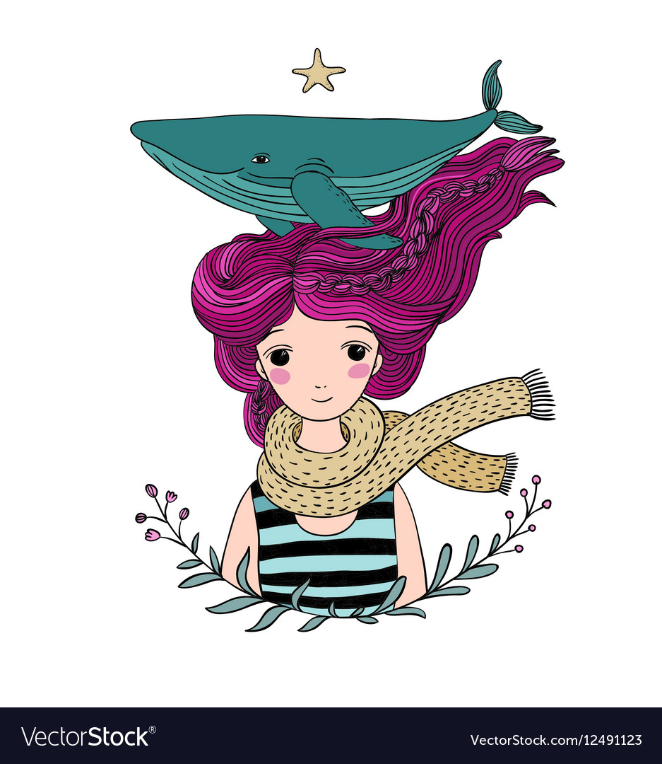 Beautiful young girl sailor with a whale in her