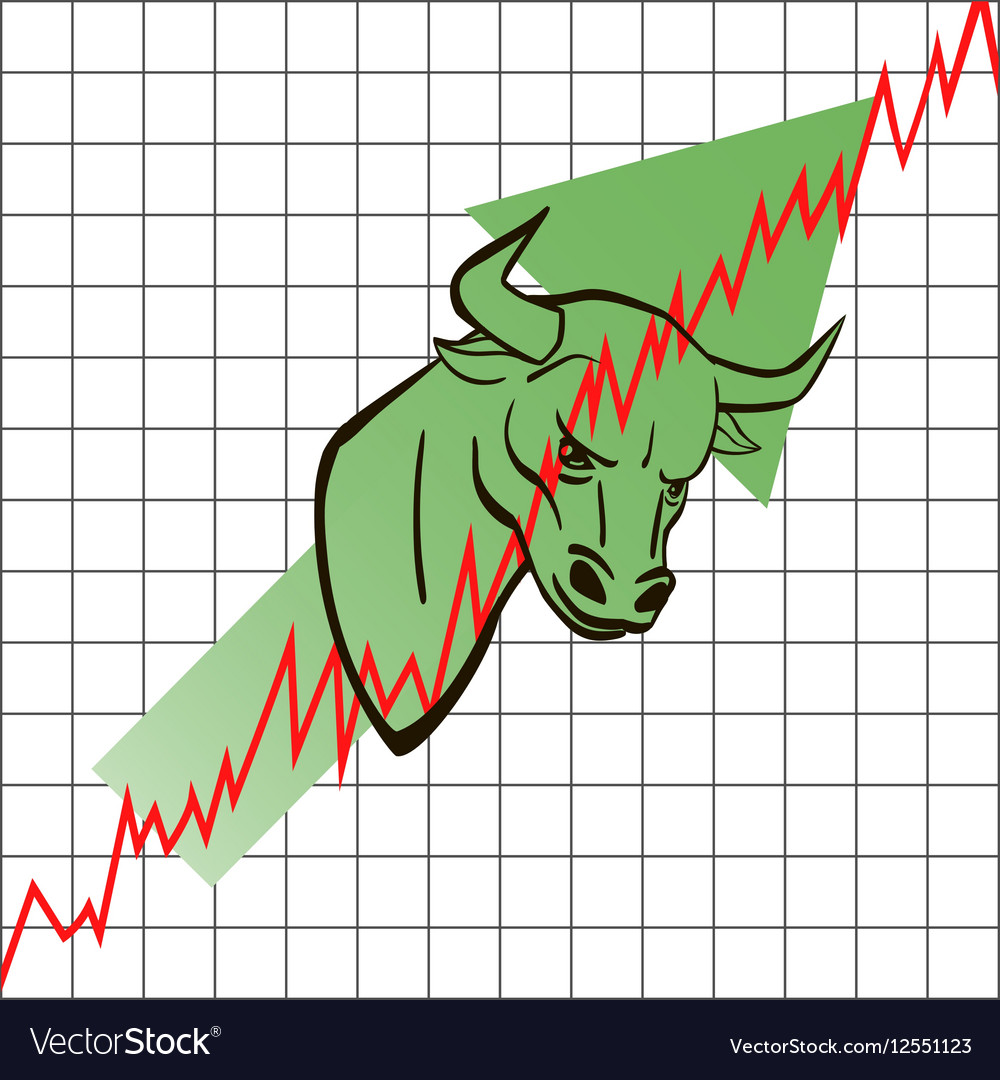 Bull head symbolizes the bull market with stock