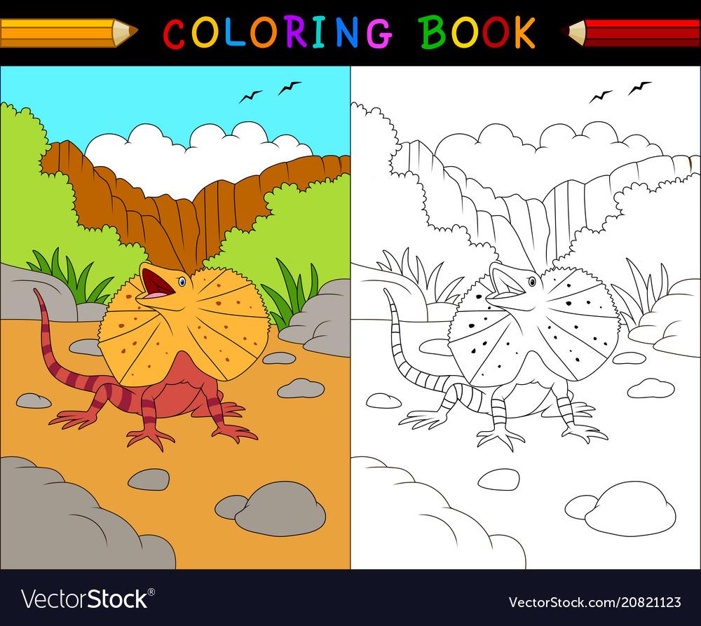 Cartoon frilled lizard coloring book animals