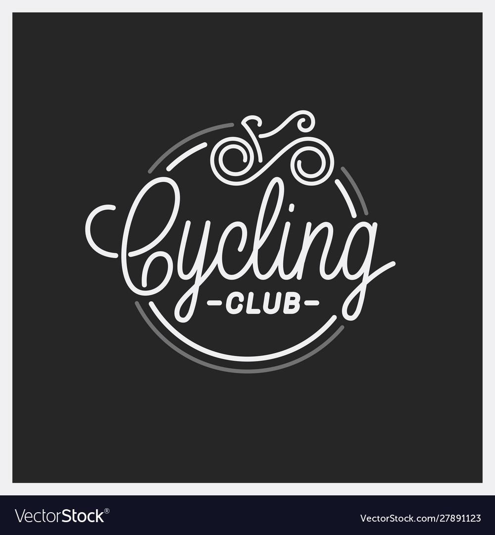 Cycling club logo round linear logo bicycle