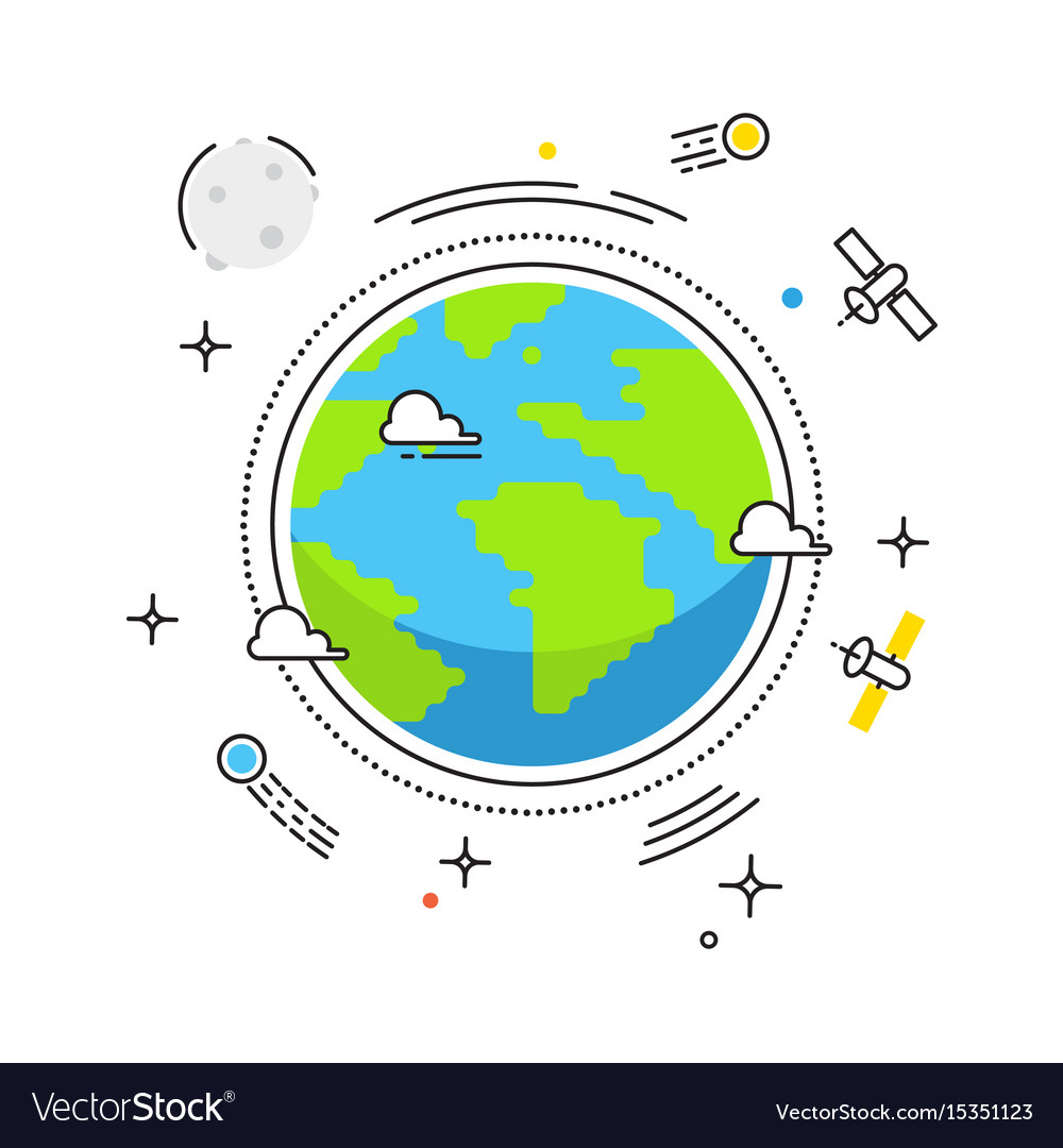 Earth lines design earth in space with