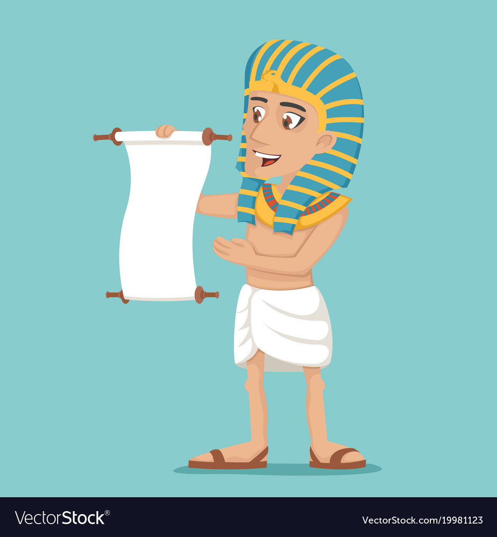 Egyptian character read scroll icon cartoon design vector image