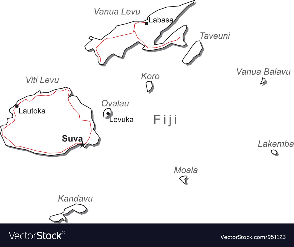 Fiji Black White Map