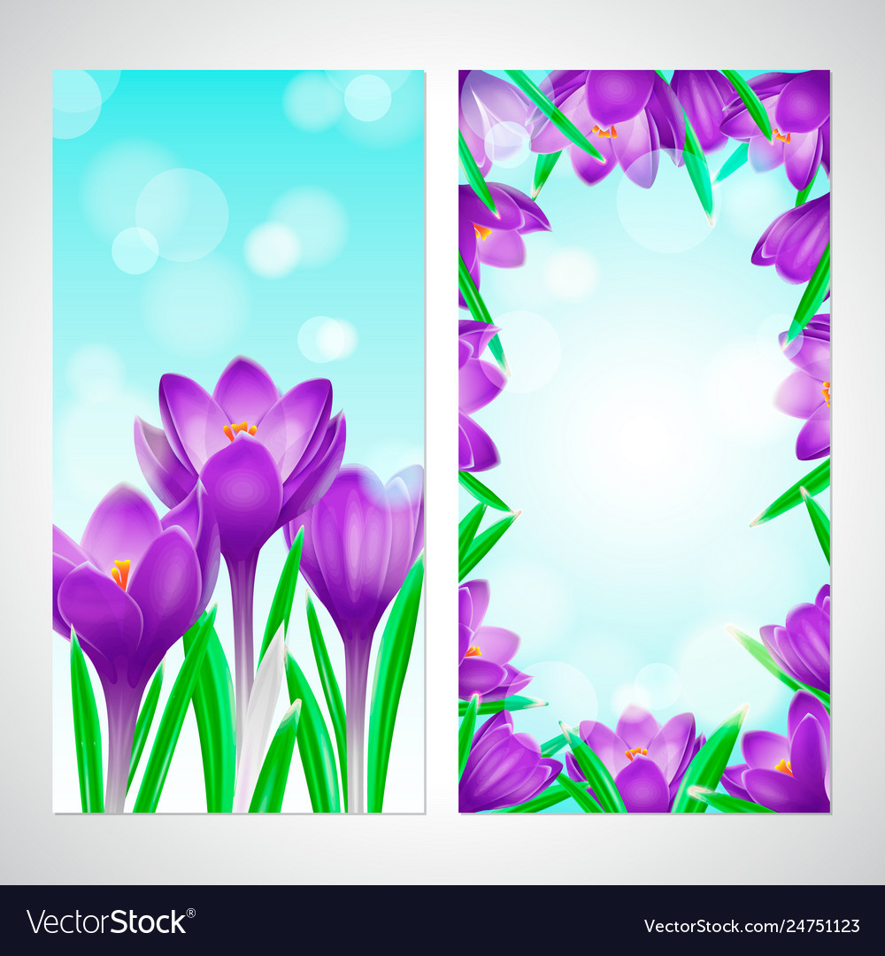 Floral design vertical banners with violet