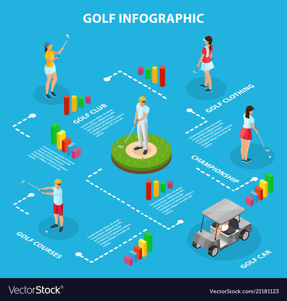 Isometric golf game infographic concept