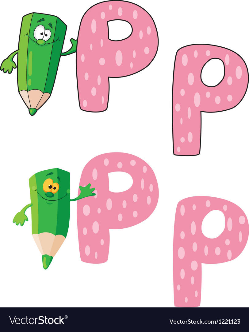 Letter P pencil green Royalty Free Vector Image