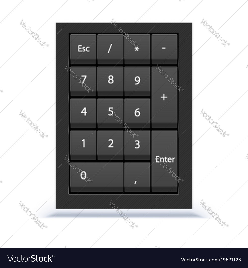 Numeric keypad close up view numpad with numbers