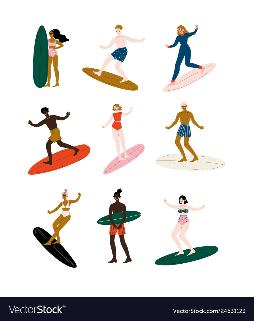 People riding surfboards set male and female