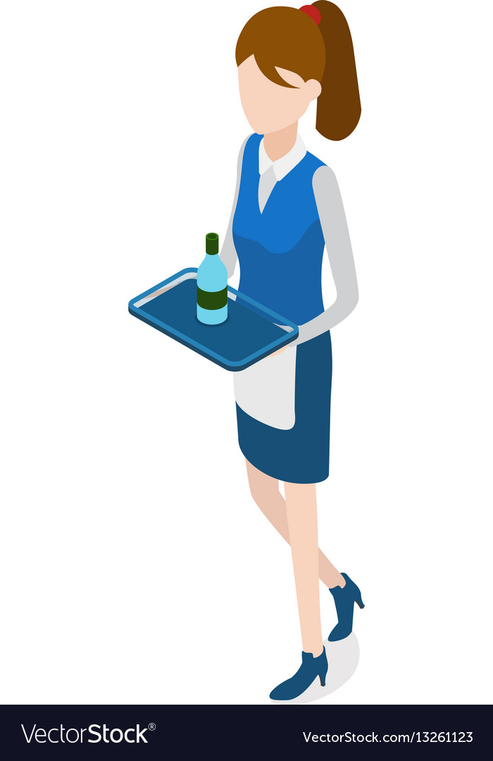 Restaurant walking waitress with tray in hands