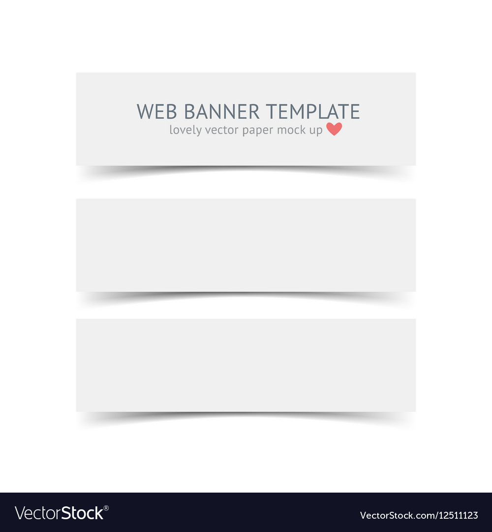 Set of blank paper banners with shadows isolated vector image