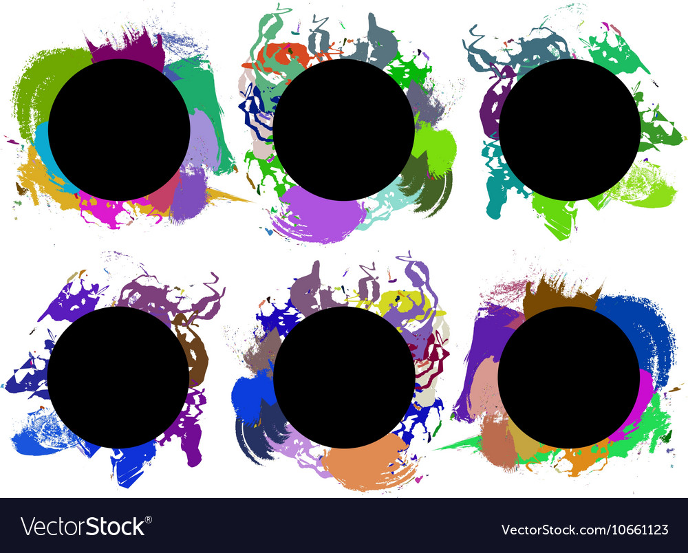 Set of color paint ink grunge dirty brush
