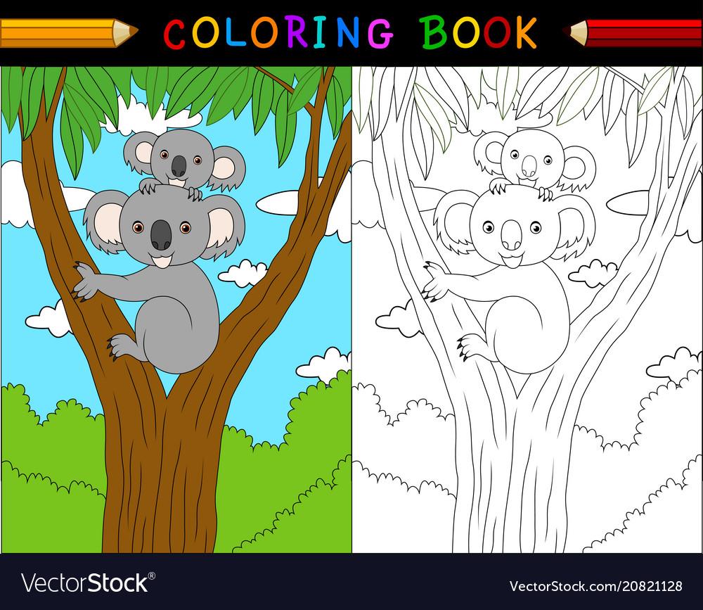Cartoon koala coloring book animals series