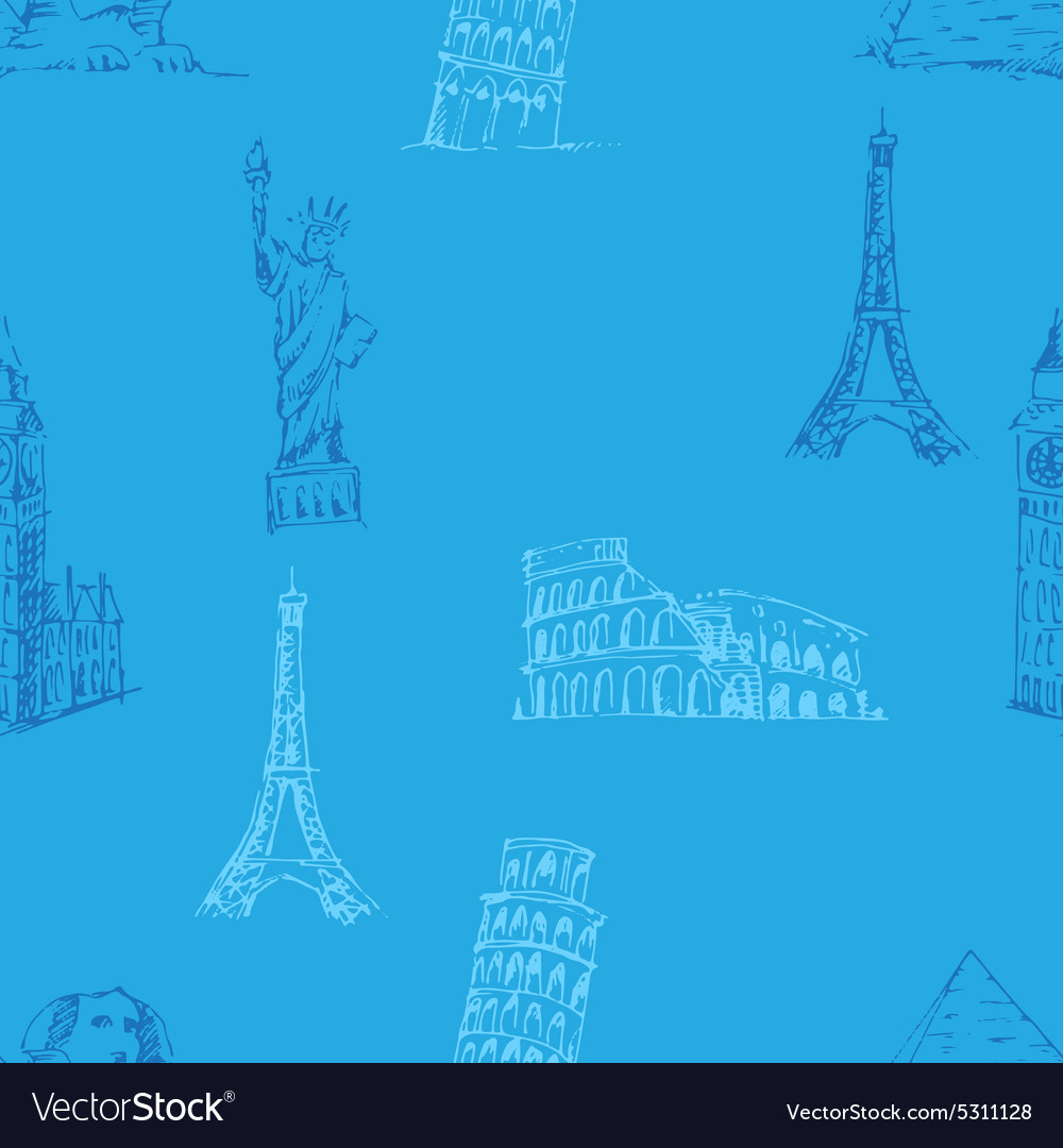 Doodle travel pattern world famous landmarks