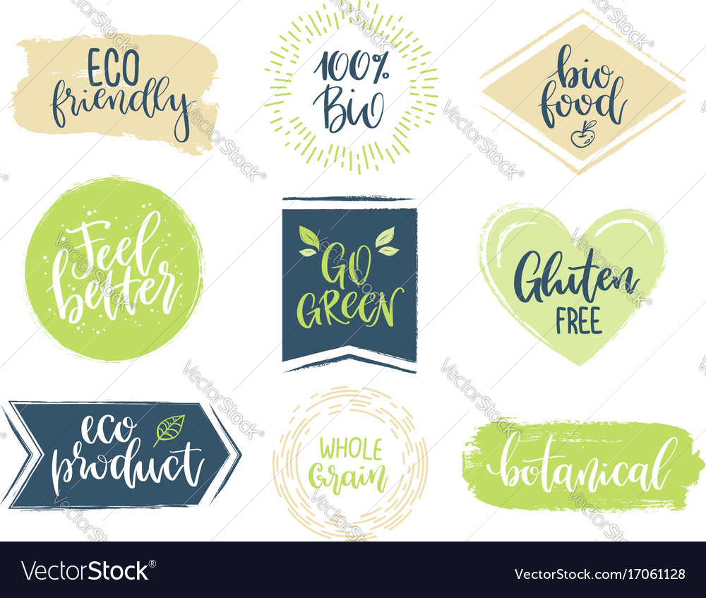 Eco templates with hand lettering for logo and