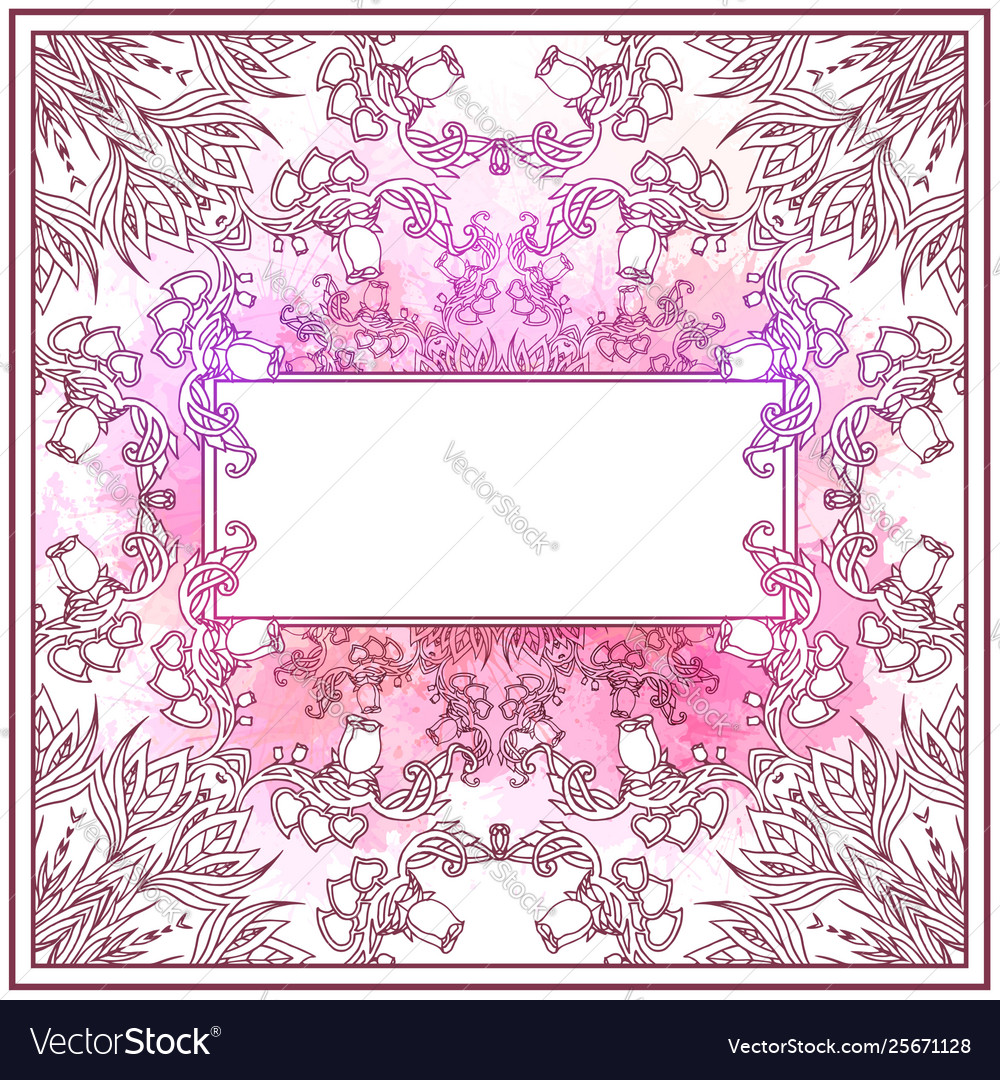 Gentle square card with a tracery floral pattern