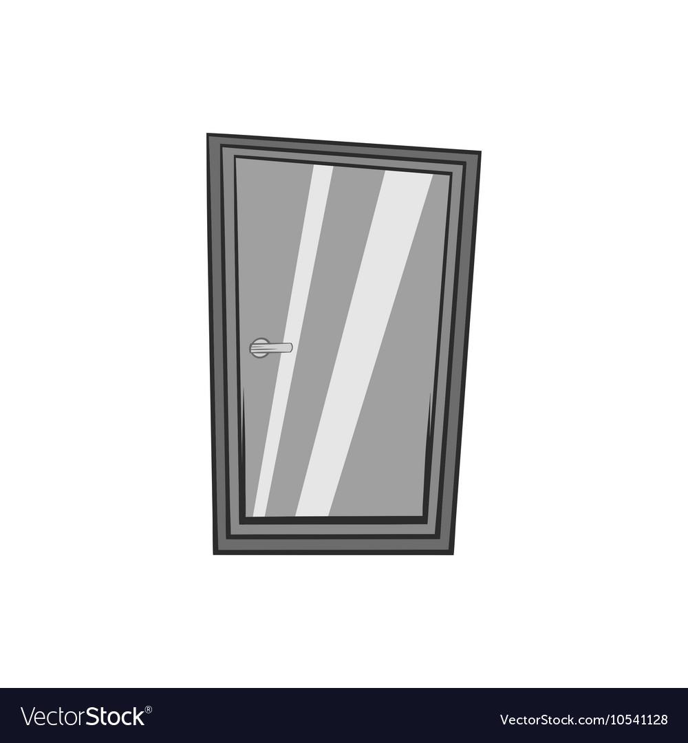 Glass interior door icon black monochrome style