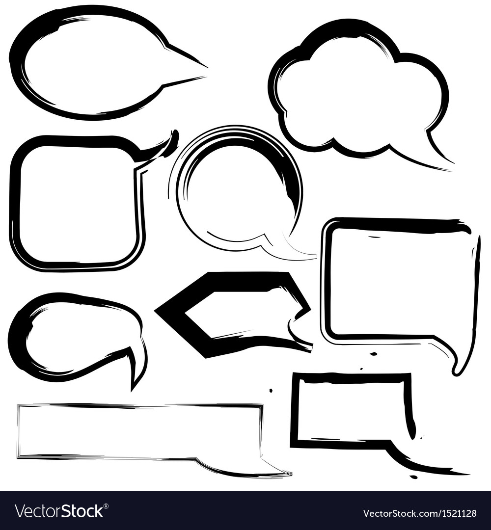 Grunge speech and thought bubbles
