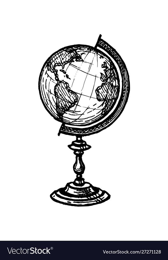 Ink sketch globe