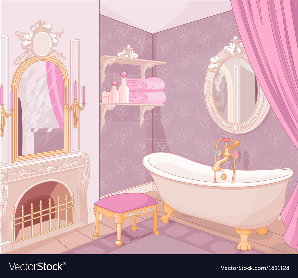 Interior of bathroom in the palace vector image
