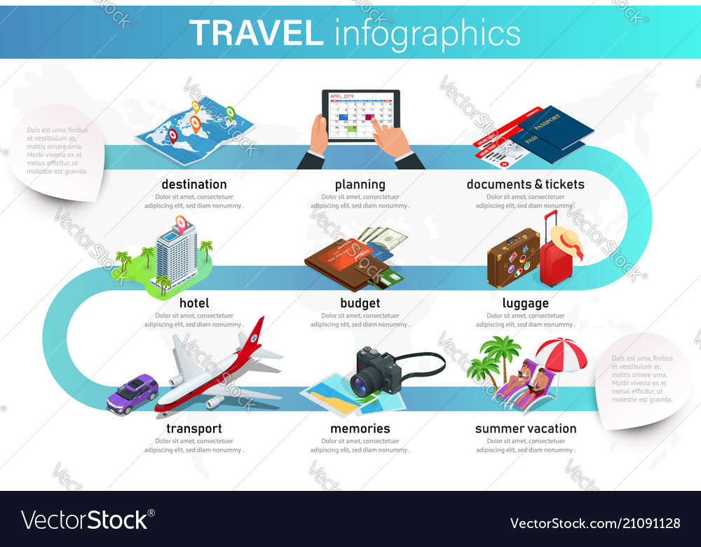 Isometric infographics concept of plan your