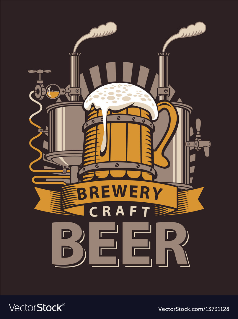 Logo for a pub or a brewery with wooden mug