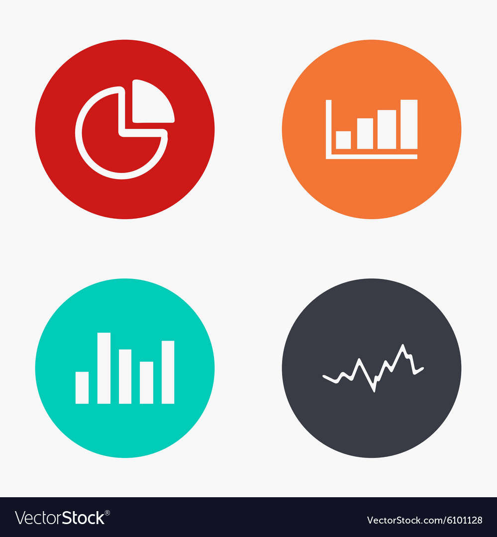 Modern graph colorful icons set